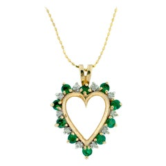 Open Heart Pendant with Emerald and Diamonds on Gold Chain