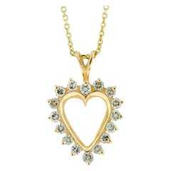 Open Heart Prong Set Diamond Heart Pendant Yellow Gold .69 Carat