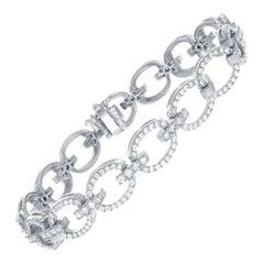 Open Link Diamond Bracelet with 2.55ct of Round Brilliant Diamonds, 14kt White
