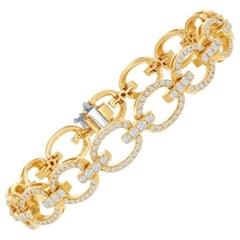 Open Link Diamond Bracelet with 3.04ct of Round Brilliant Diamonds, 14kt Yellow