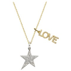 Open Love and Pave Diamond Star 18K Pendant Necklace