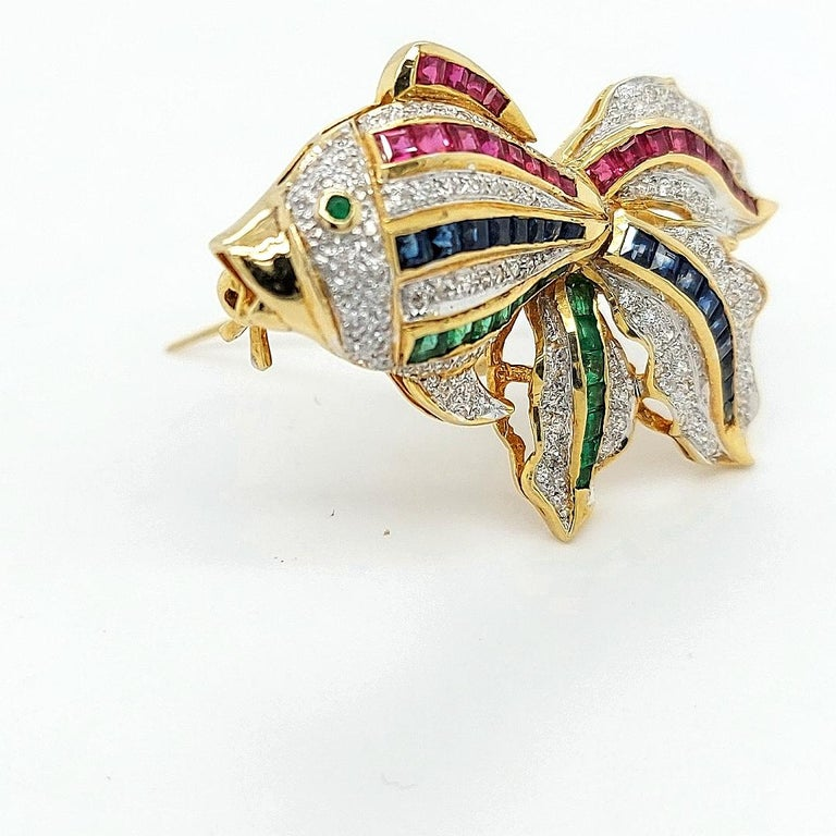 Open Mouth Fish Brooch / Pendant Set with Diamonds, Ruby, Sapphire, Emerald For Sale 4