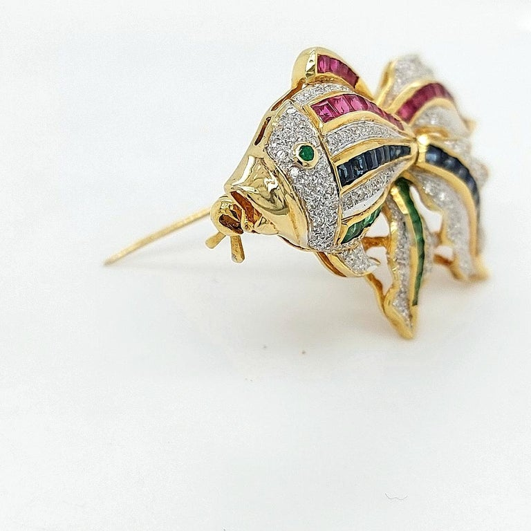 Open Mouth Fish Brooch / Pendant Set with Diamonds, Ruby, Sapphire, Emerald For Sale 5