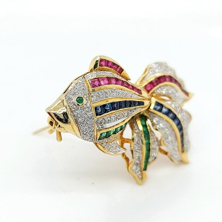 Open Mouth Fish Brooch / Pendant Set with Diamonds, Ruby, Sapphire, Emerald For Sale 8