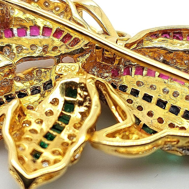 Open Mouth Fish Brooch / Pendant Set with Diamonds, Ruby, Sapphire, Emerald For Sale 9