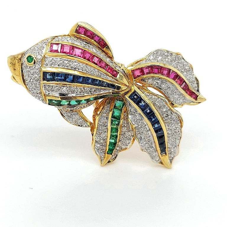 Square Cut Open Mouth Fish Brooch / Pendant Set with Diamonds, Ruby, Sapphire, Emerald For Sale
