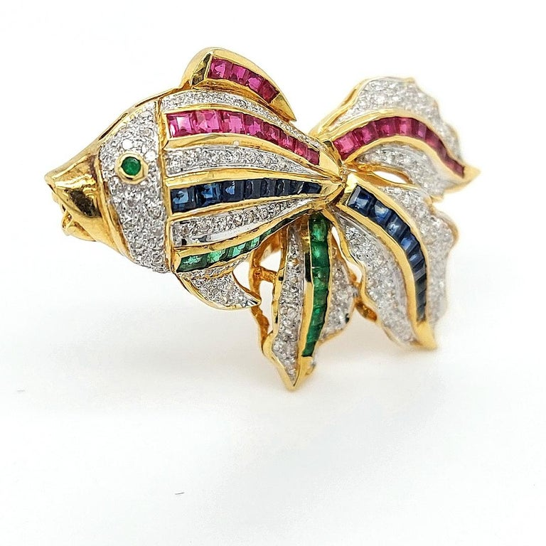 Women's or Men's Open Mouth Fish Brooch / Pendant Set with Diamonds, Ruby, Sapphire, Emerald For Sale