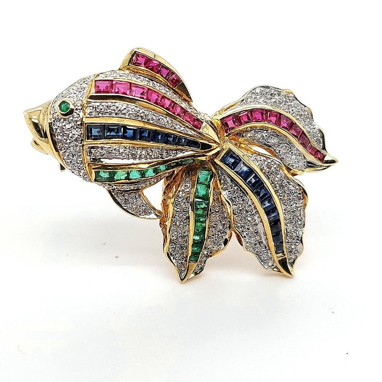 Open Mouth Fish Brooch / Pendant Set with Diamonds, Ruby, Sapphire, Emerald For Sale 1