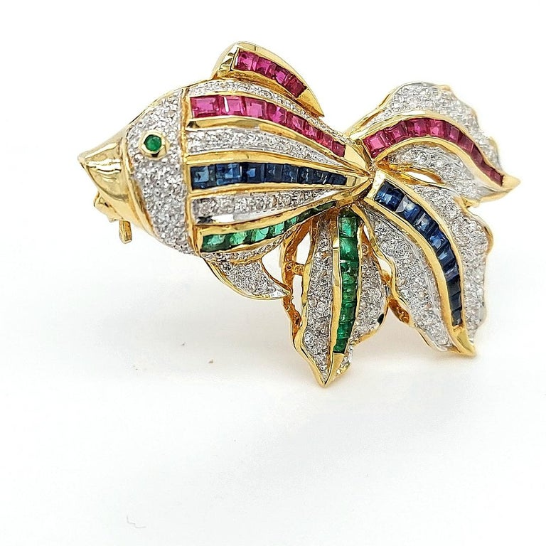 Open Mouth Fish Brooch / Pendant Set with Diamonds, Ruby, Sapphire, Emerald For Sale 2