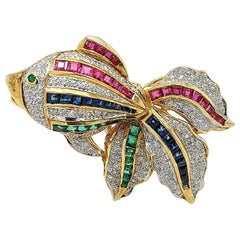 Open Mouth Fish Brooch / Pendant Set with Diamonds, Ruby, Sapphire, Emerald