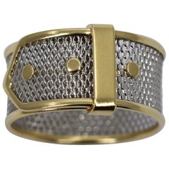 Open Platinum Lace Band with Gold Borders and Gold Accents