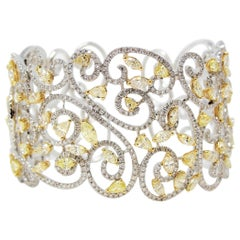 Open Scroll 14.56 CTW Yellow and White Diamond Wide Cuff 18 Karat Gold Bracelet