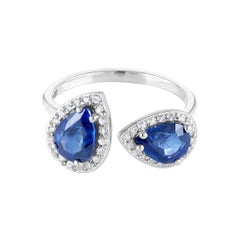 Open Shank Cocktail Ring with Double Pear Shape Sapphires and Diamonds