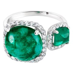 Open Shank Diamond Gold Cocktail Ring Cabochon Emerald and Sugar Loaf Emerald