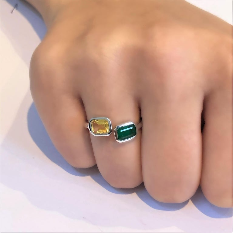 Emerald Cut Open Shank Gold Cocktail Ring with Emerald and Yellow Sapphire Bezel Set For Sale