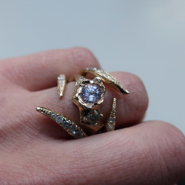 Artist Open V-Shaped Diamond Stacking Ring in Gold For Sale