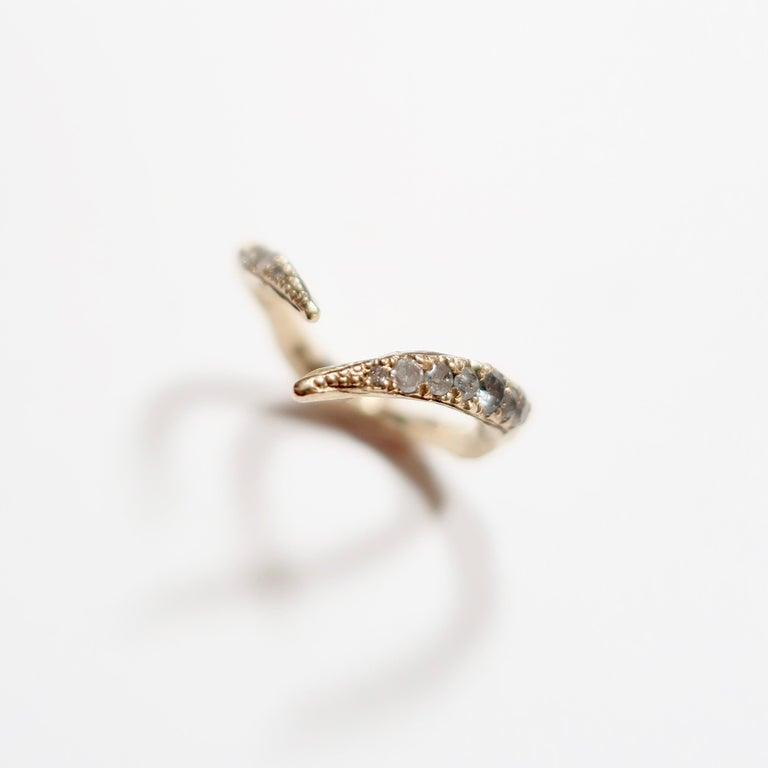 Open V-Shaped Diamond Stacking Ring in Gold In New Condition For Sale In Foxborough, MA