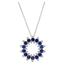Roman Malakov Open-Work Blue Sapphire and Diamond Circle Pendant Necklace
