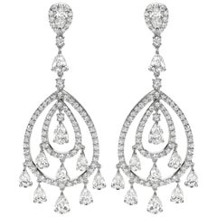 Open-Work Diamond Fringe Chandelier Earrings