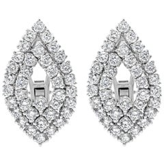 Open-Work Diamond Omega Clip Earrings