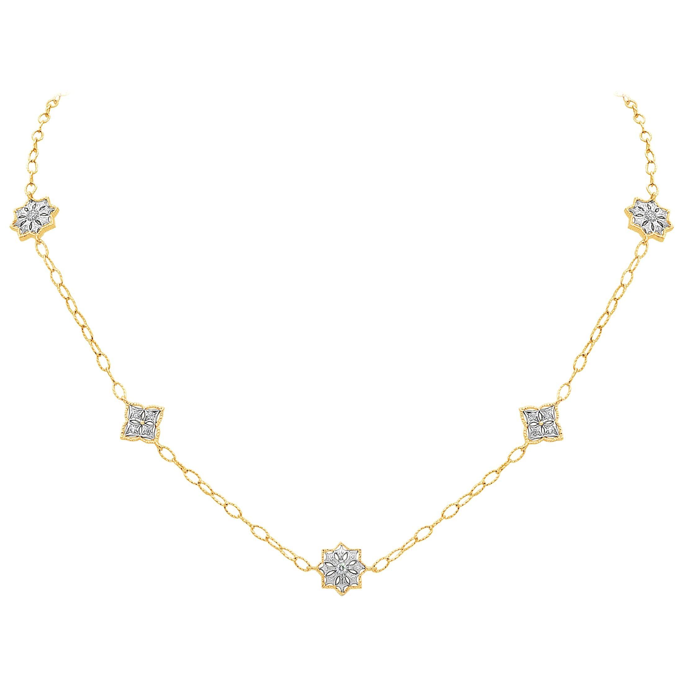 Roman Malakov Open-Work Diamond Ribbed Chain Fashion Necklace