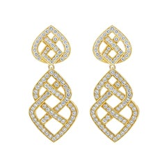 Open Work Diamond Weaving Dangle Earrings