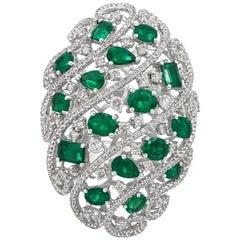 Open-Work Emerald and Diamond Fashion Ring