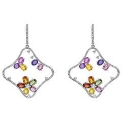 Roman Malakov, Open-Work Multi-Color Sapphire and Diamond Dangle Earrings