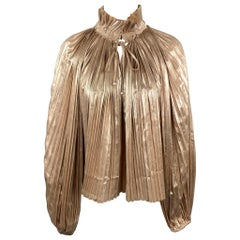 OPENING CEREMONY Size 10 Gold Metallic Pleated Polyester Blouse