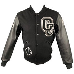 OPENING CEREMONY Size M Black & White Wool Leather Sleeves Varsity Jacket