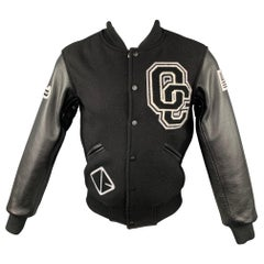OPENING CEREMONY Size XS Black & White Wool Leather Sleeves Varsity Jacket