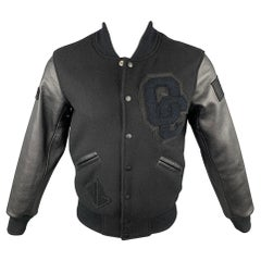 OPENING CEREMONY Size XS Black Wool Leather Sleeves Varsity Jacket