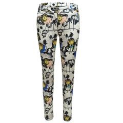 Opening Ceremony White & Multicolor Tropical Print Skinny Jeans