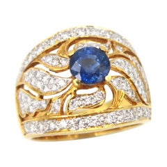 Openwork Centre Sapphire Diamond Yellow Gold Ring