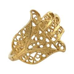 Openwork Hamsa Ring in 18 Karat Yellow Gold