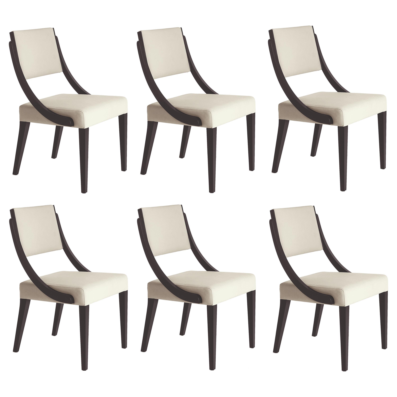 Opera Dining Chairs, Black Oak/Cream Leather-Set of 6