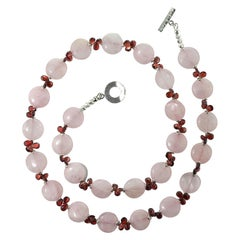 Opera Length Unique Garnet Briolette and Rose Quartz Necklace