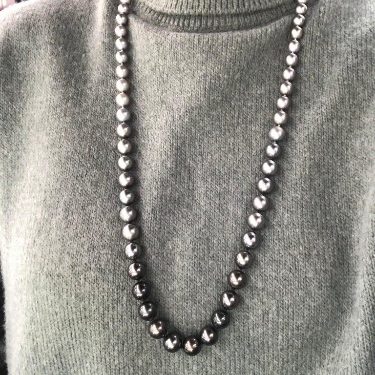 Women's HARBOR D. Opera Ombre Tahitian Pearl Necklace Diamond Clasp For Sale