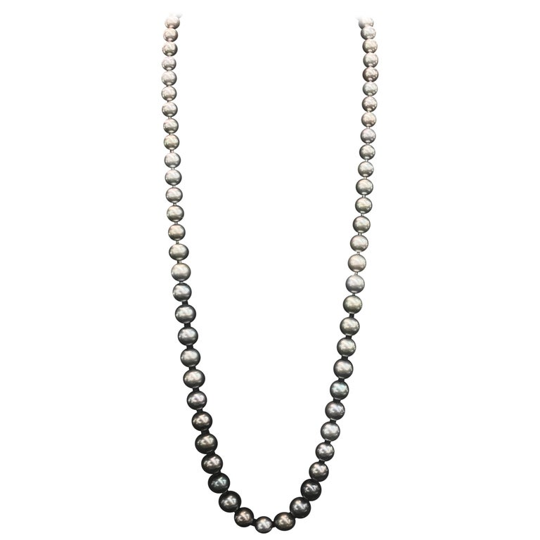 HARBOR D. Opera Ombre Tahitian Pearl Necklace Diamond Clasp For Sale