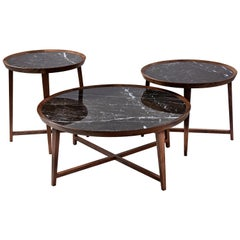 Opera Table, Marble Top with Walnut Legs Coffee and Side Tables