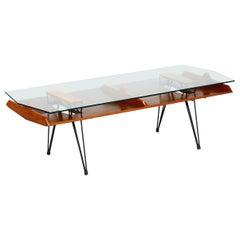 Opere e i Giorni Modernist Architectural Walnut & Glass Coffee Table, Italy 2010