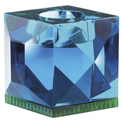 Ophelia Azure Crystal T-Light Holder, Hand-Sculpted Contemporary Crystal
