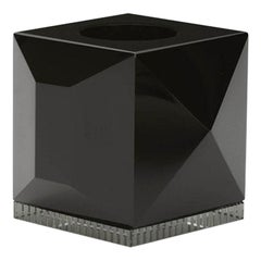 Ophelia Black Crystal T-Light Holder, Hand-Sculpted Contemporary Crystal