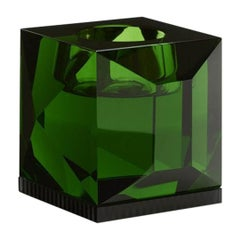 Ophelia Green Crystal T-Light Holder, Hand-Sculpted Contemporary Crystal