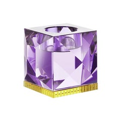Ophelia Purple Crystal T-Light Holder, Hand-Sculpted Contemporary Crystal