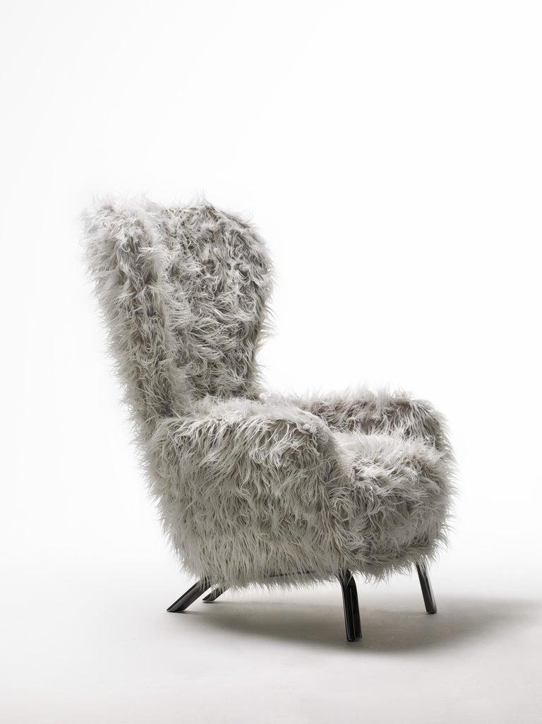 Italian Opinion Ciatti Guelfo Fur Wingback Armchair in White Mélange Synthetic Fur For Sale