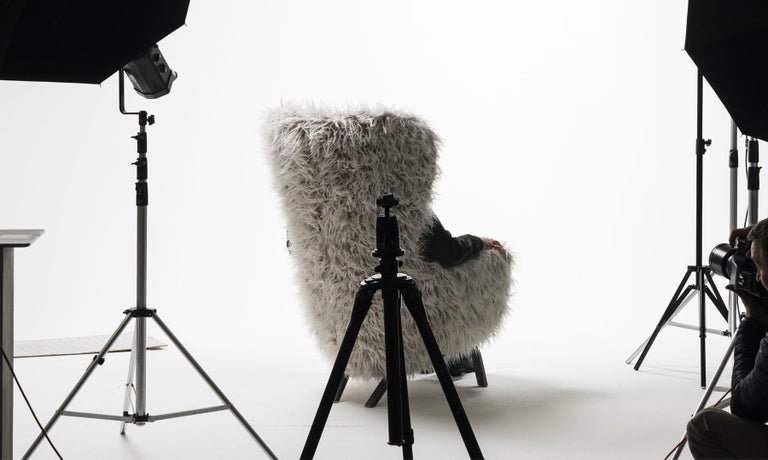 Opinion Ciatti Guelfo Fur Wingback Armchair in White Mélange Synthetic Fur In New Condition For Sale In New York, NY