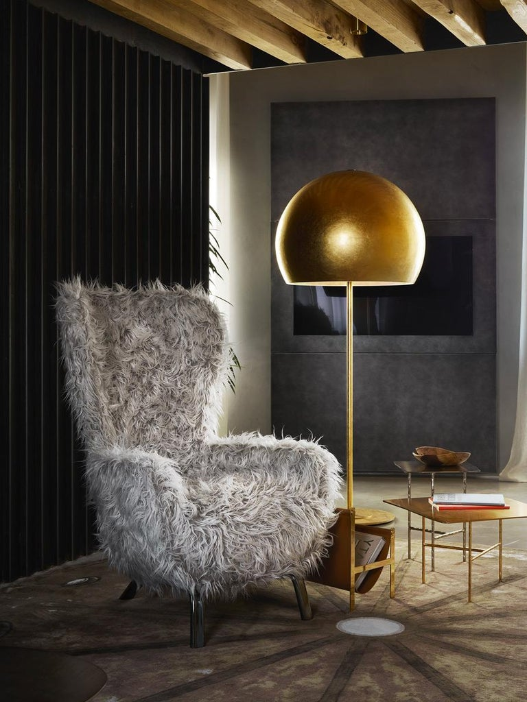 Contemporary Opinion Ciatti Guelfo Fur Wingback Armchair in White Mélange Synthetic Fur For Sale