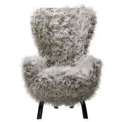 Opinion Ciatti Guelfo Fur Wingback Armchair in White Mélange Synthetic Fur