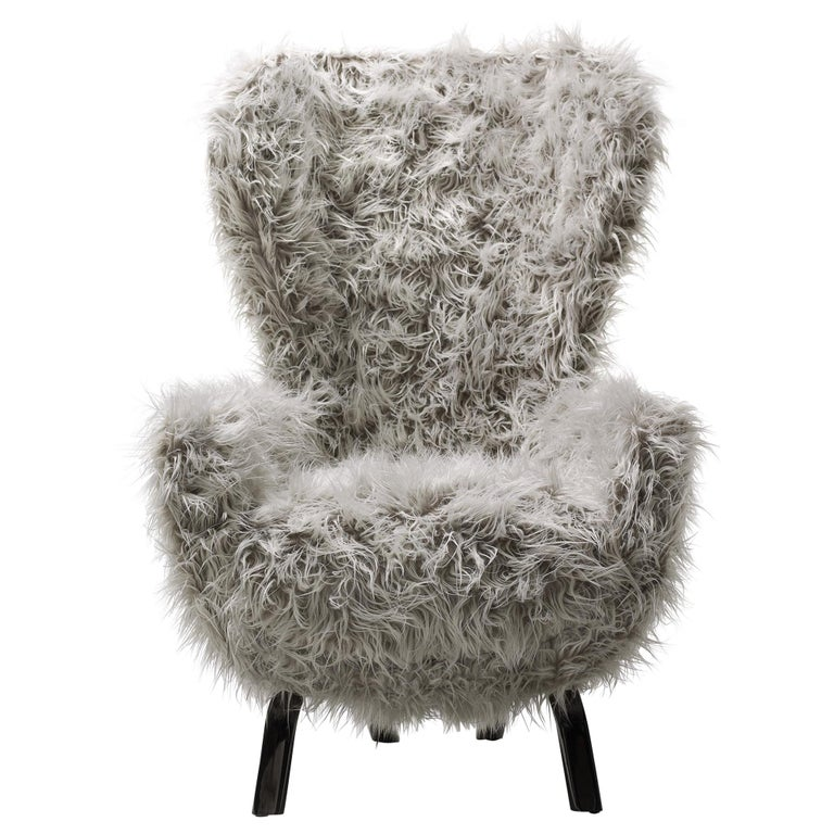 Opinion Ciatti Guelfo Fur Wingback Armchair in White Mélange Synthetic Fur For Sale